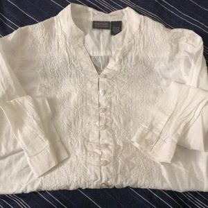 Auditions by Chico's White Button Lace Blouse